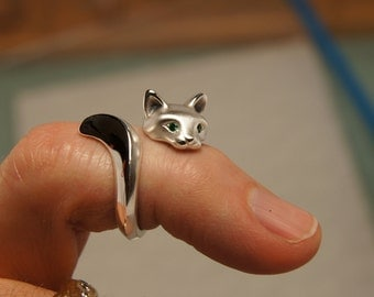 forrest cat ring, with  diamond eyes. pick your color.  satin/ high polish finish