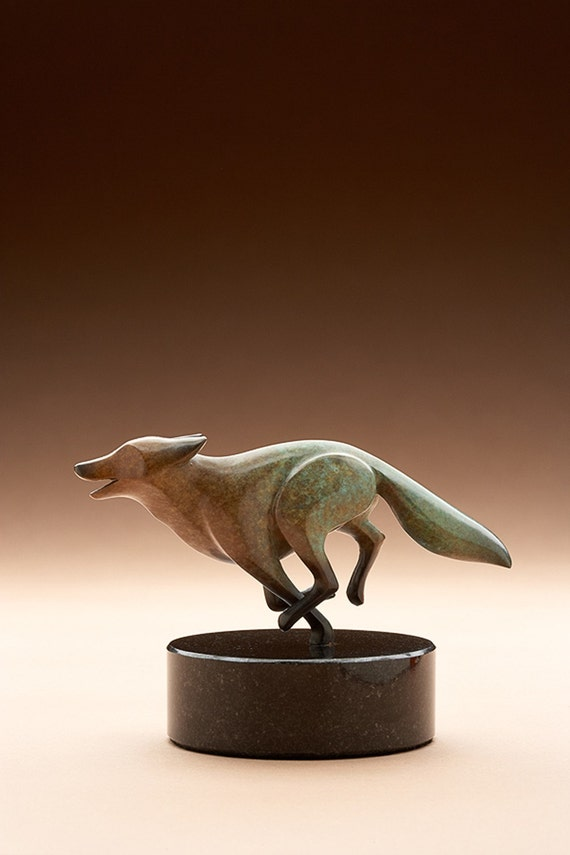 bronze fox, rust / turquois patina limited edition