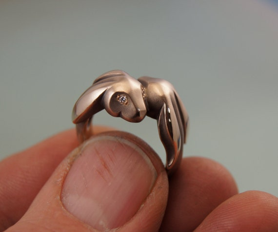 BUNNY  love ring . bronze with diamond eyes
