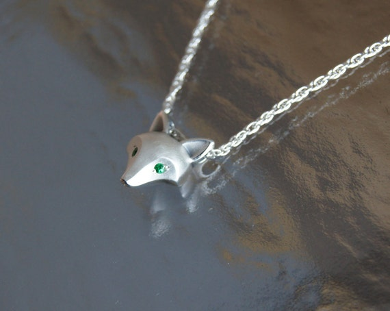 silver fox pendant with colored stone eyes.   SATIN finish,