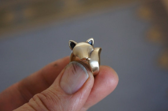 shiba inu  ring, bronze, satin finish.