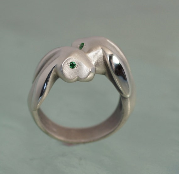 silver lopp ear bunny ring, pick your eye color