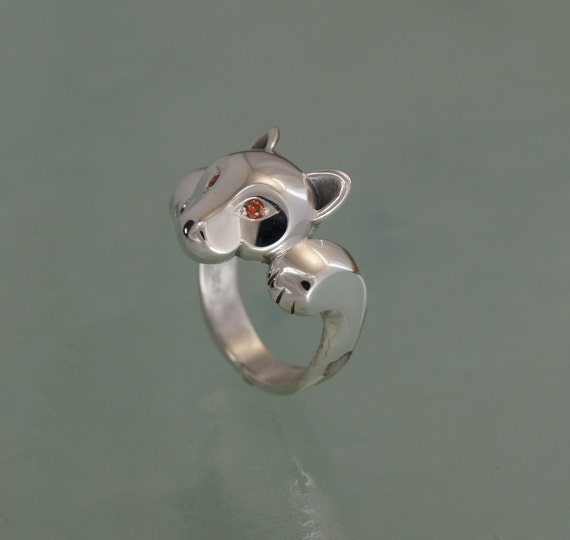 leaping puma ring with diamond eyes, pick your color
