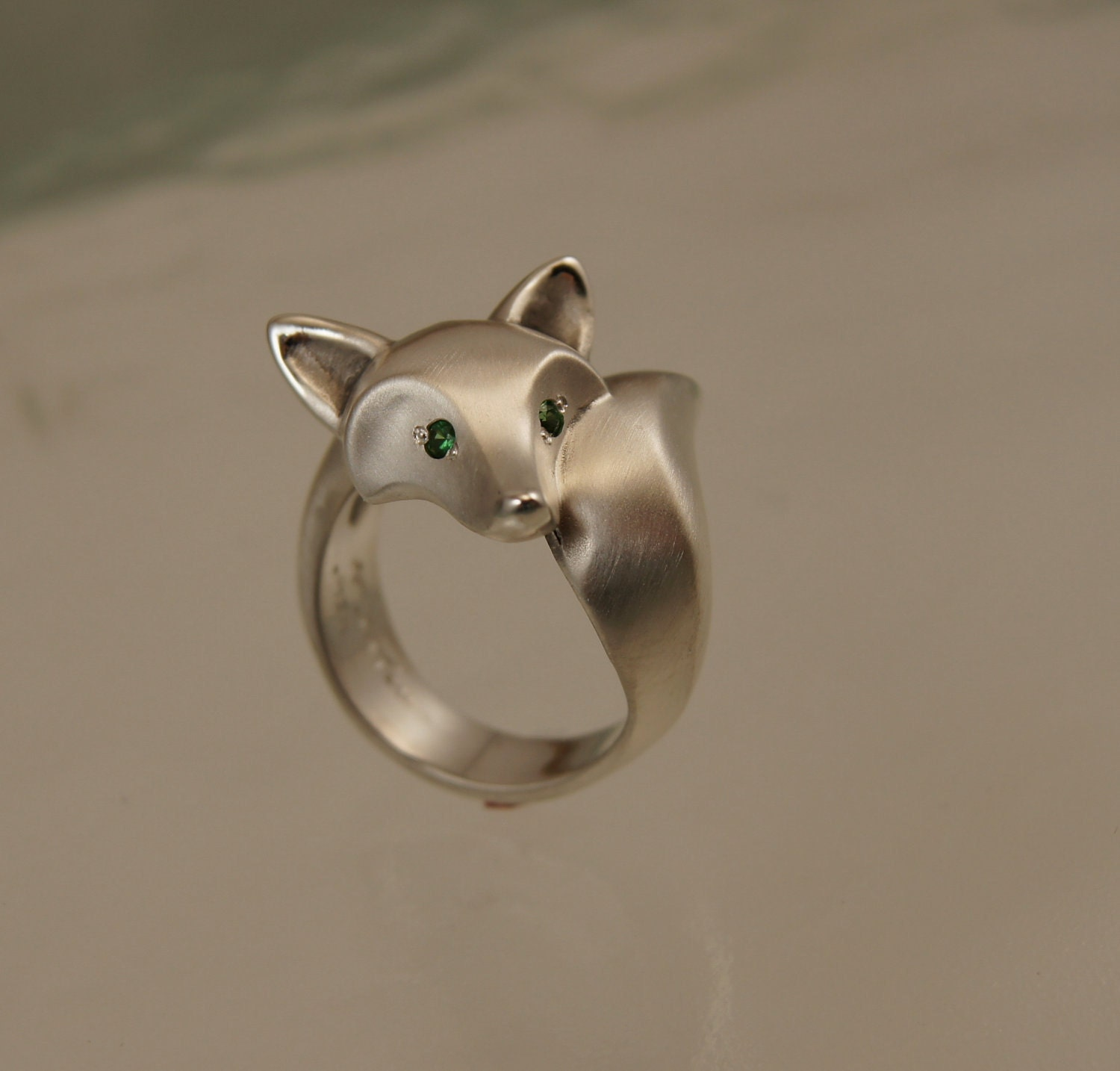 Silver Fox Ring Colored Stone Eyes Satin Finish