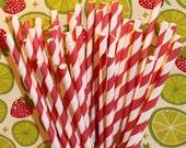Paper Straws ...50 RED Striped Straws