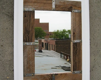SOLD Handmade Large Industrial Rustic Barnwood Mirror White Trim no.23