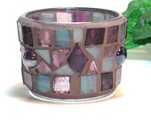 Stained glass mosaic tealight candle holder plum and teal