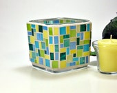 Stained glass mosaic votive candle holder teal aqua blue yellow