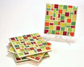 Stained glass mosaic coaster set red yellow orange lime green