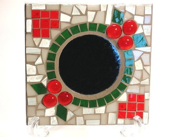 Stained glass mosaic candle holder plate Christmas
