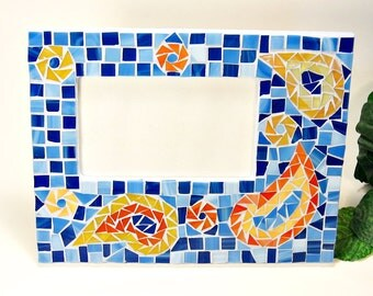 Stained glass mosaic picture frame blue orange paisley design