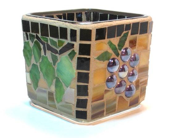 Stained glass mosaic candle holder grapes and grapevines