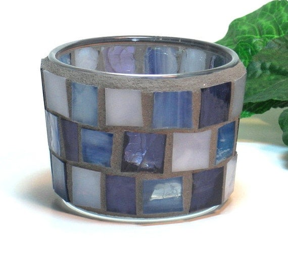 Stained glass mosaic candle holder for tealights