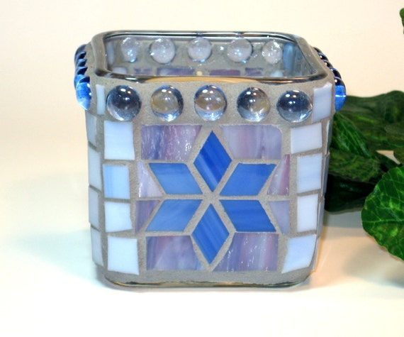 Stained glass mosaic candle holder for votives or tealights