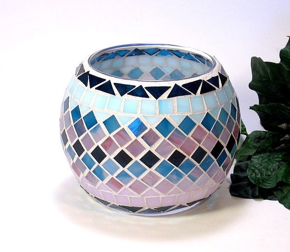 Stained glass mosaic votive candle holder pink and teal