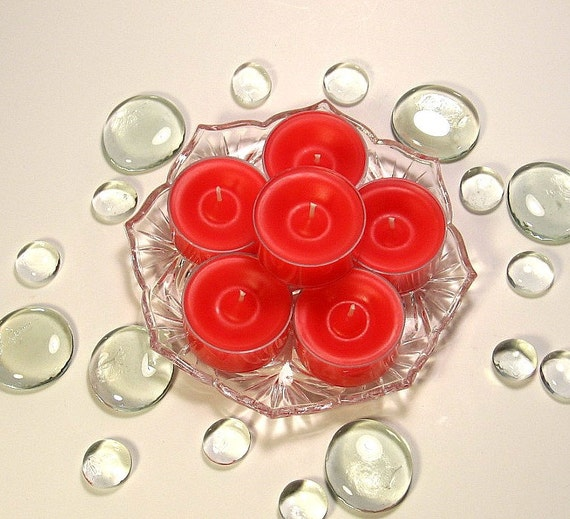 Tealight candles Fresh Strawberry scent 6 pack red
