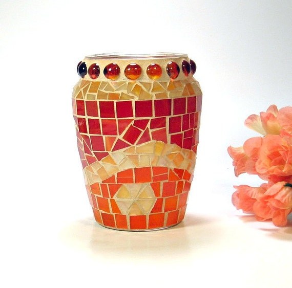 Stained glass mosaic vase orange and red