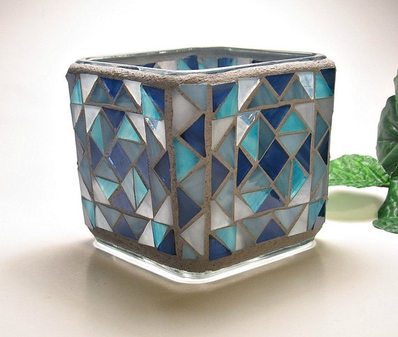 Stained glass mosaic votive candle holder blue gray turquoise