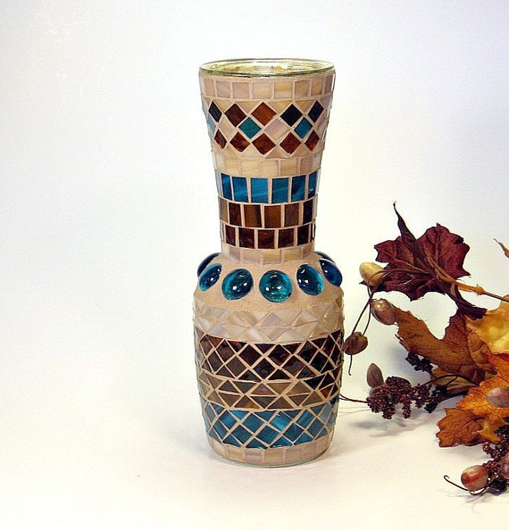 Stained glass mosaic vase brown turquoise amber and cream