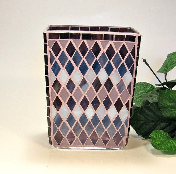 Stained glass mosaic vase navy blue plum and purple