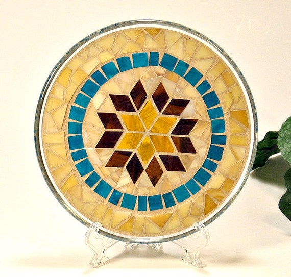 Stained glass mosaic pillar candle holder plate brown amber turquoise