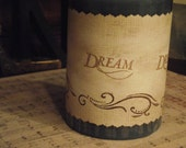 Candle  Wrap  Taper  Handstamped   With  The  Word  Dream