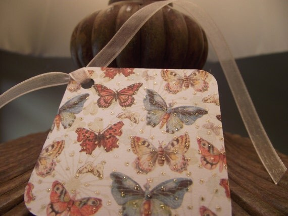 Glittered  butterfly   Gift  Tag