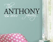 FAMILY NAME w/ EST Date - Vinyl Wall Quote Decal