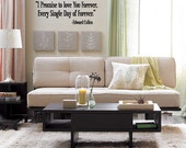 I promise to love you forever... -Edward Cullen - Vinyl Wall Quote Decal