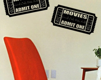 Movie Tickets - Vinyl Wall Decal for Home Theater