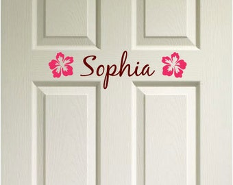 Door Decor Custom Name w/ Flower - Boys Girls room Vinyl Wall Decal