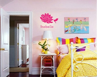 FLOWER w/ Custom Name - Vinyl Wall Quote Decal
