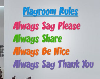 Playromm Rules - Vinyl Wall Quote Decal (5 Colors)