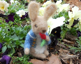 Peter Rabbit / Needle Felted Art Doll / Waldorf-style Miniature Figurine / Beatrix Potter Toy / Springtime Easter Bunny Decoration