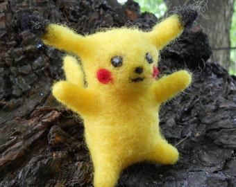 Pikachu Toy / Needle Felted Pokemon Plush / Miniature Anime Figurine / Soft Video Game Cartoon Character / Fantasy Animal Sculpture