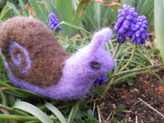 Needle Felted Garden Snail / Waldorf Soft Miniature Animal Toy / Springtime Nature Table Figurine / Purple and Brown Insect Sculpture