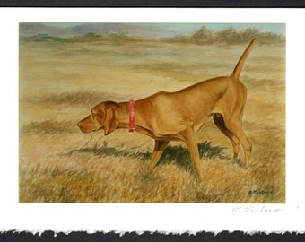Vizsla Art Print 5x7 notecard, Vizsla Dog Notecard