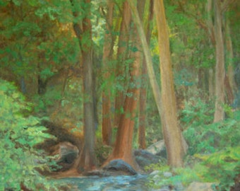 Forest and Stream Landscape Art Print, Oil Landscape Print, Home Decor Wall Art from Original Painting by P. Tarlow