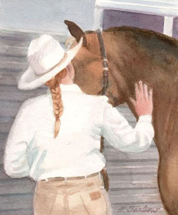 Girl and Horse Art, Horse and Girl Art, Horse Art, Original Watercolor Art, Girls Room Art, Teens Room Art, Home Decor Wall Art by P.Tarlow