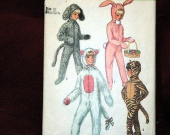 Pattern   Simplicity Childs Animal Halloween Costume - Sewing Pattern - Vintage 1970
