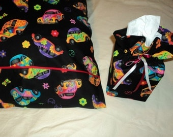 SALE - Was 18.00  -  Pillowcase, Tissue Box Cover, VW Bug, Colorful, Flowers, Decorative Black Background