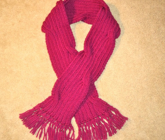 20% off  Sale -  Soft Wool Scarf, Handmade, Knitted Orchid, Catch the Wave, Winter, Spring, Summer, Fall, Hot Pink