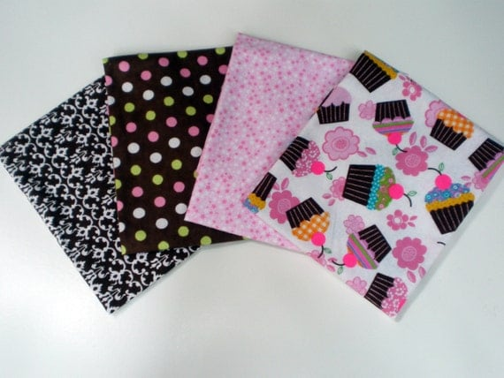 Fat Quarter Pack of 4 Coordinating Flannel Fabrics in Pink and Brown Cupcake, Stars, Dots and Flower Prints