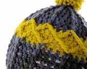 Neon Wool Pom Pom Hat - Slate Ochre - Chunky Knits - Autumn Winter Fashion - Menswear - Textured Geometric Cabled Stripes - Tree Donation