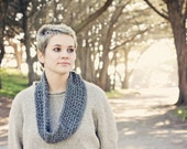 Grey crochet cowl circle scarf in soft baby alpaca w charity tree donation. Soft lightweight spring summer fall winter eco fashion women