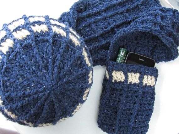 TARDIS-inspired Hat & Scarf Crochet Pattern - Doctor Who Inspired Geekery - TARDIS-inspired Beanie and Pocket Scarr