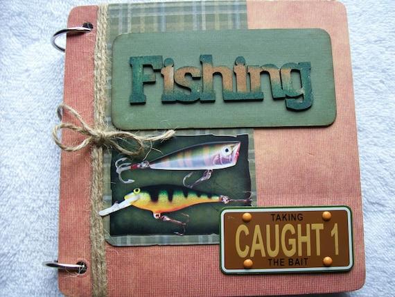 Fishing Chipboard Scrapbook Mini Album Premade 6x6