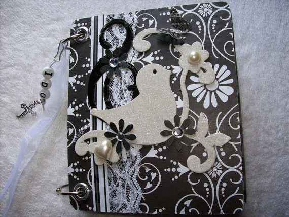 Scrapbook Mini Album Wedding Black and White Chipboard with Premade Pages