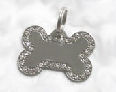 Custom Engraved Designer Bone Dog/Pet Collar Tag - Silver w/Clear Crystals