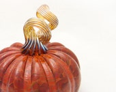 Blown Glass Pumpkin - brown brick red gold - centerpiece - entertaining harvest fall decor - luxury by Avolie Glass
